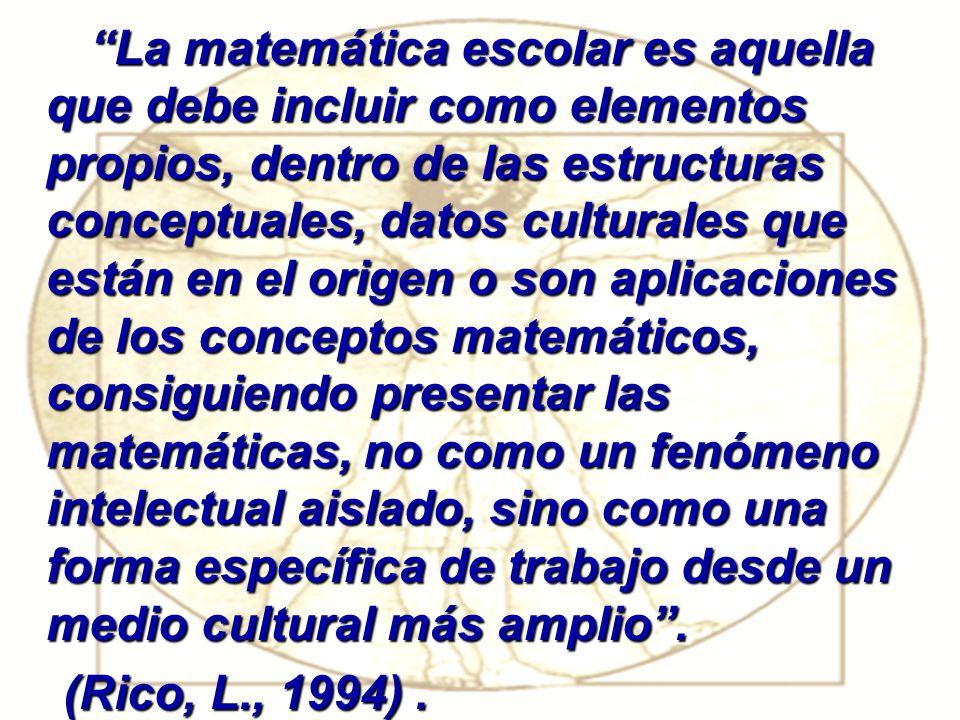 COMPETENCIA MATEMÀTICA Está referida al saber-hacer en el contexto matemático escolar, es decir, a las formas de proceder que se corresponden con estructuras matemáticas, las cuales se validan y adquieren sentido en el contexto matemático escolar.