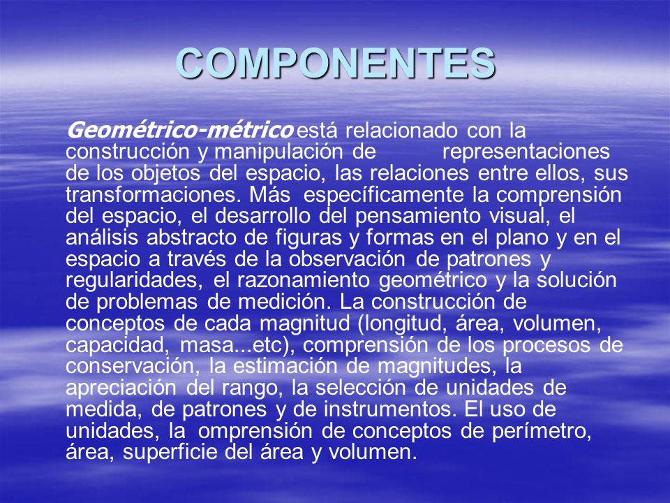 COMPONENTES Geométrico-métrico está relacionado con la construcción y manipulación de representaciones de los objetos del espacio, las relaciones entr