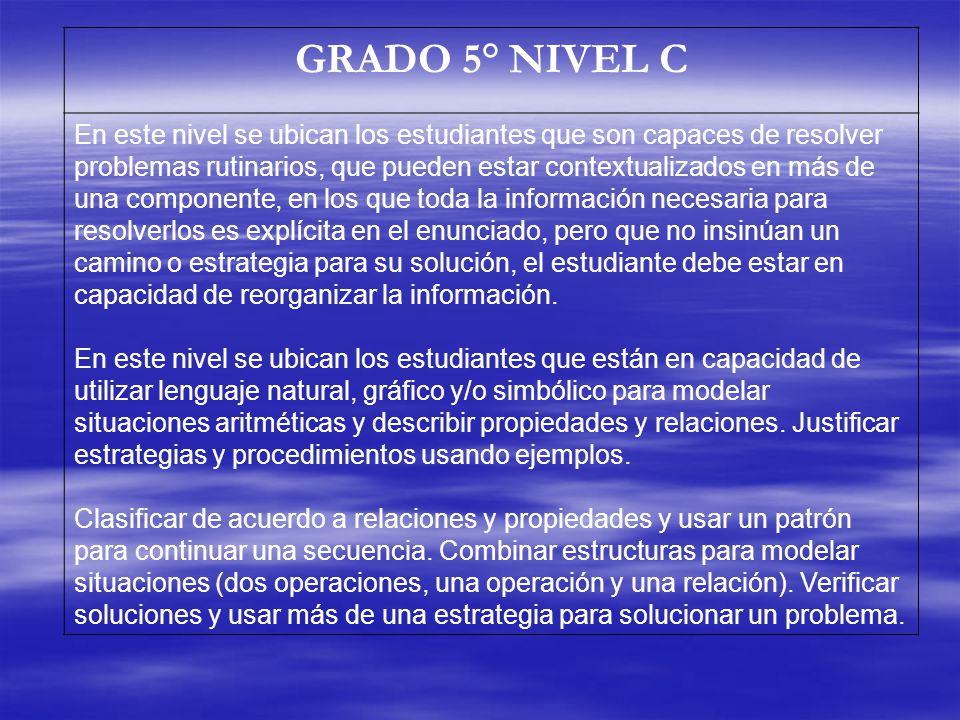 GRADO 5° NIVEL C En este nivel se ubican los estudiantes que son capaces de resolver problemas rutinarios, que pueden estar contextualizados en más de