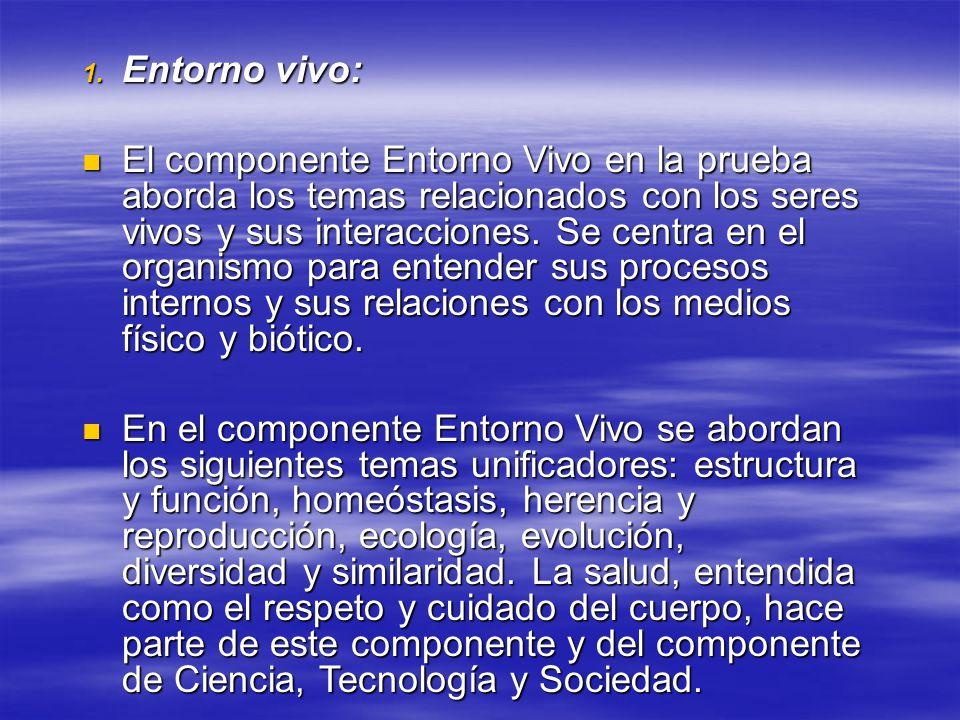 1. Entorno vivo: El componente Entorno Vivo en la prueba aborda los temas relacionados con los seres vivos y sus interacciones. Se centra en el organi