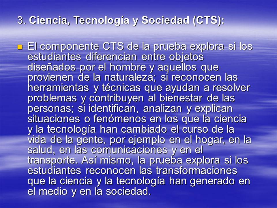 3. Ciencia, Tecnología y Sociedad (CTS): El componente CTS de la prueba explora si los estudiantes diferencian entre objetos diseñados por el hombre y