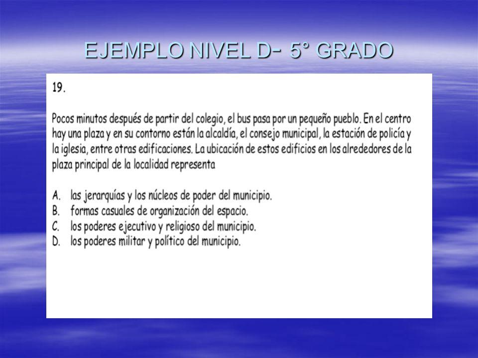 EJEMPLO NIVEL D - 5° GRADO