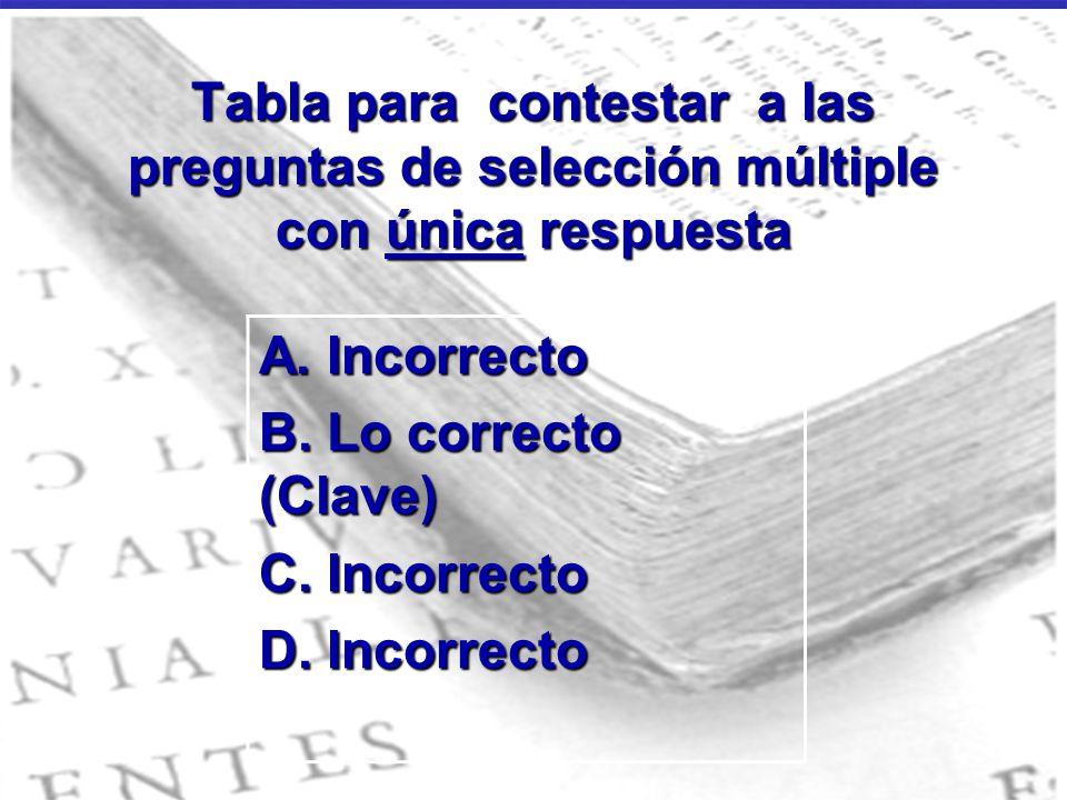 Tabla para contestar a las preguntas de selección múltiple con única respuesta A. Incorrecto B. Lo correcto (Clave) C. Incorrecto D. Incorrecto