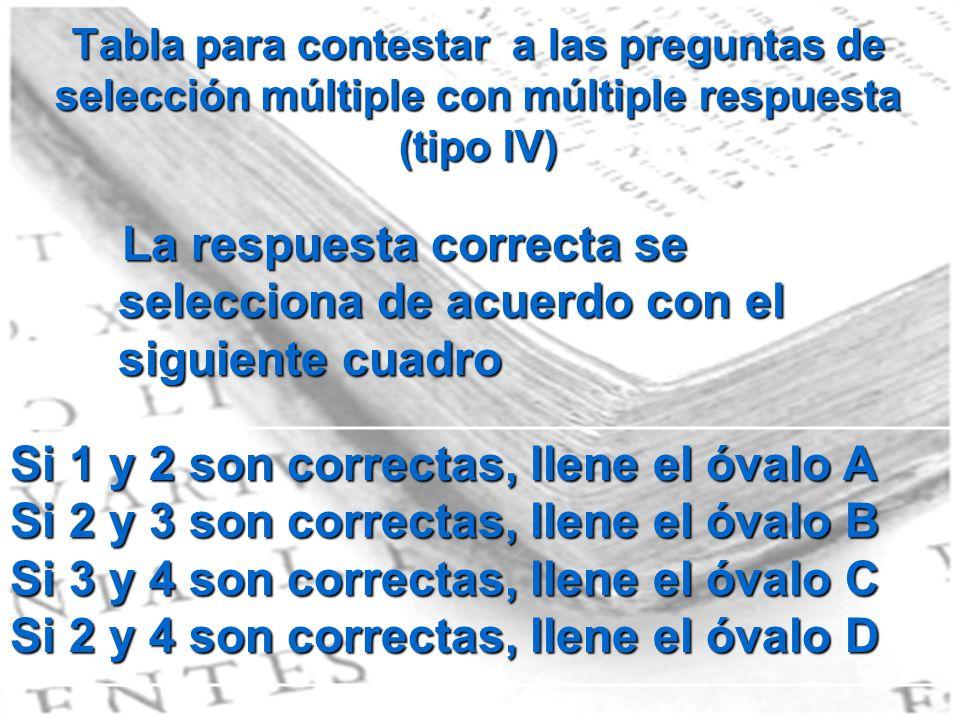 Tabla para contestar a las preguntas de selección múltiple con múltiple respuesta (tipo IV) La respuesta correcta se selecciona de acuerdo con el sigu