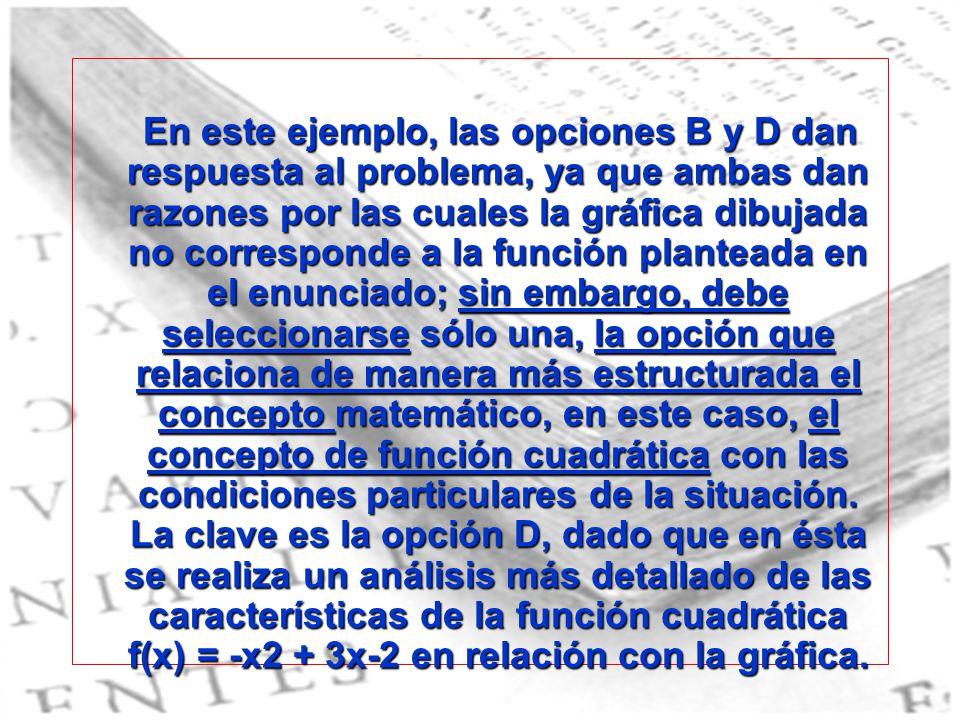 En este ejemplo, las opciones B y D dan respuesta al problema, ya que ambas dan razones por las cuales la gráfica dibujada no corresponde a la función
