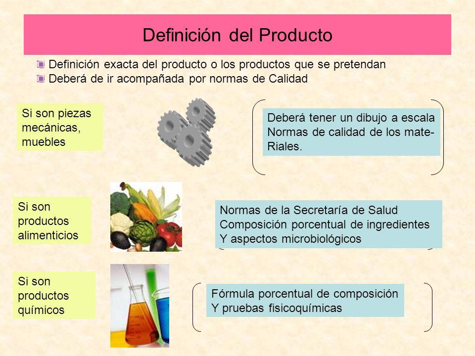 Definición del Producto Definición exacta del producto o los productos que se pretendan Deberá de ir acompañada por normas de Calidad Si son piezas me