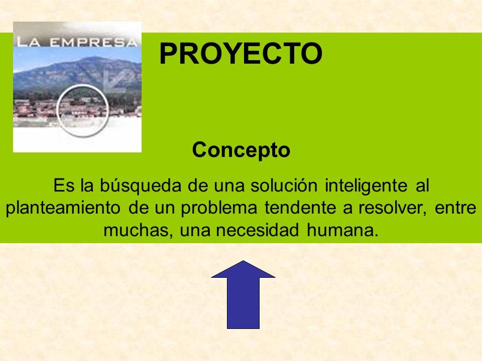 PROYECTO Concepto Es la búsqueda de una solución inteligente al planteamiento de un problema tendente a resolver, entre muchas, una necesidad humana.