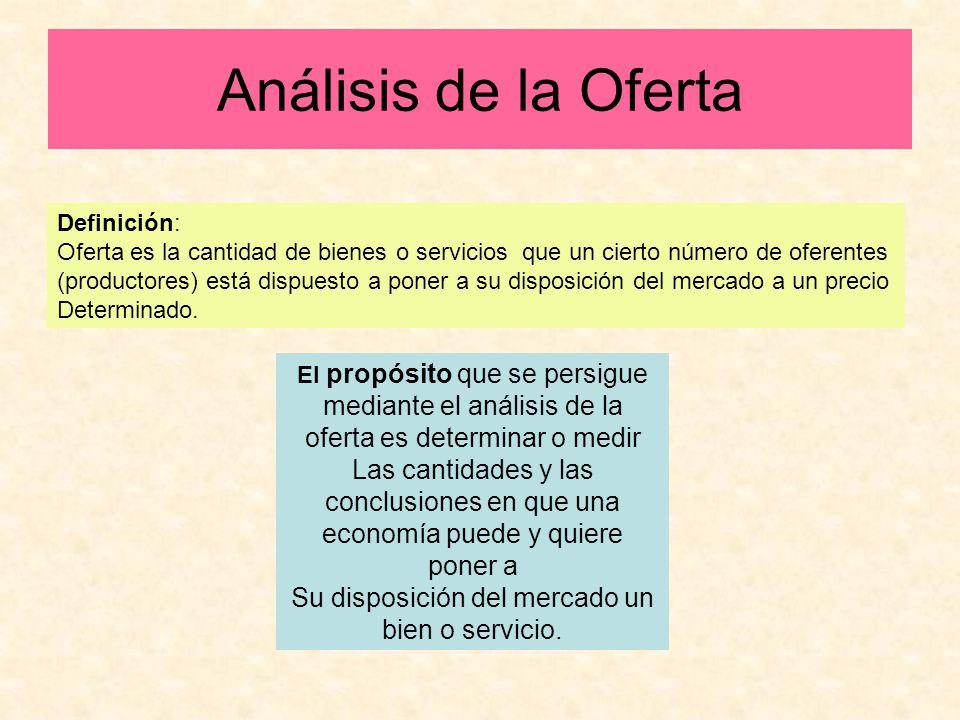 Análisis de la Oferta Definición: Oferta es la cantidad de bienes o servicios que un cierto número de oferentes (productores) está dispuesto a poner a