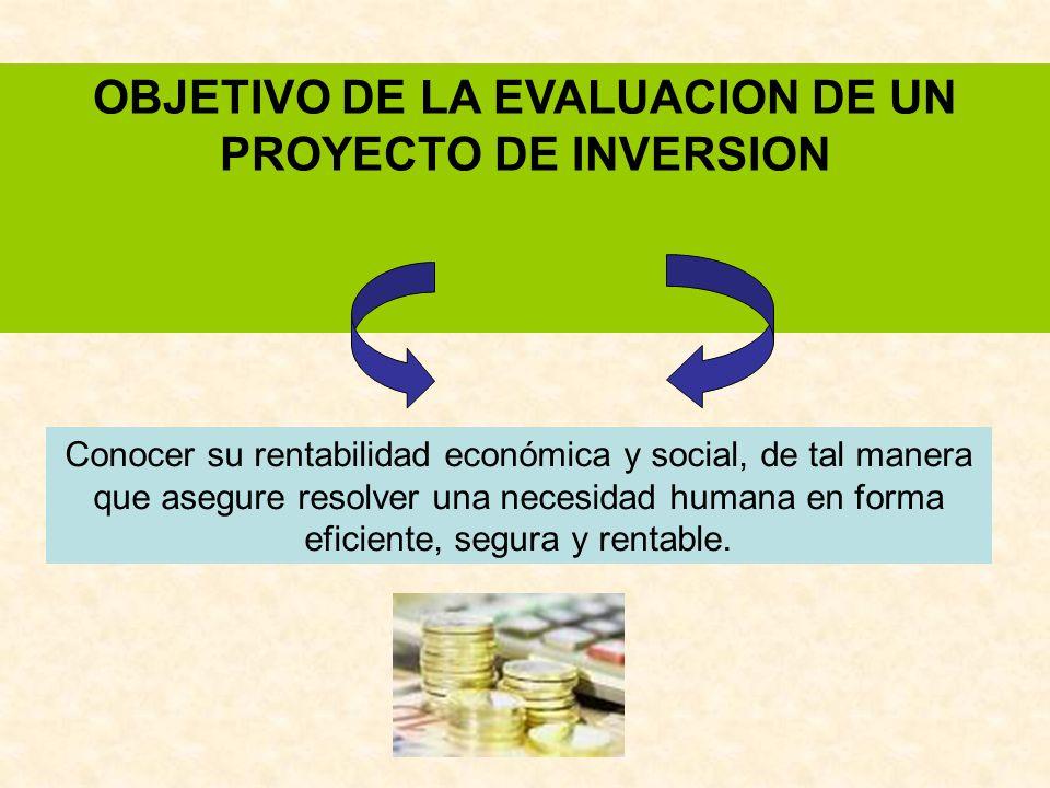 OBJETIVO DE LA EVALUACION DE UN PROYECTO DE INVERSION Conocer su rentabilidad económica y social, de tal manera que asegure resolver una necesidad hum