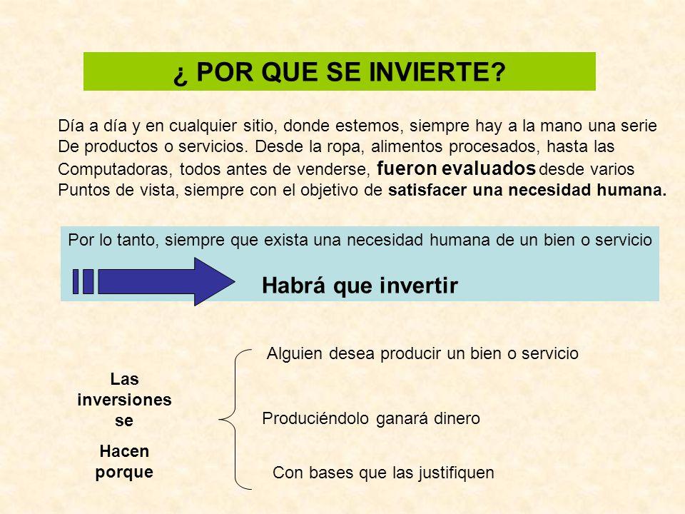 METODOLOGIA PARA EL ANALISIS Y LA EVALUACION DE PROYECTOS DE INVERSIÓN 1.Definición de cada uno de los proyectos de inversión 2.