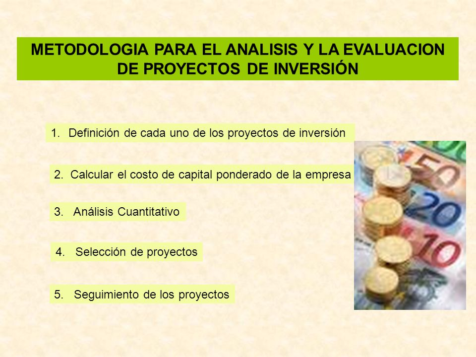 METODOLOGIA PARA EL ANALISIS Y LA EVALUACION DE PROYECTOS DE INVERSIÓN 1.Definición de cada uno de los proyectos de inversión 2. Calcular el costo de