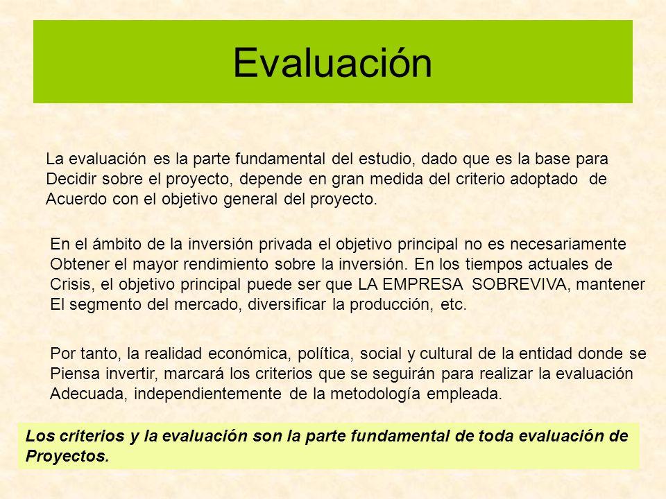 Evaluación La evaluación es la parte fundamental del estudio, dado que es la base para Decidir sobre el proyecto, depende en gran medida del criterio