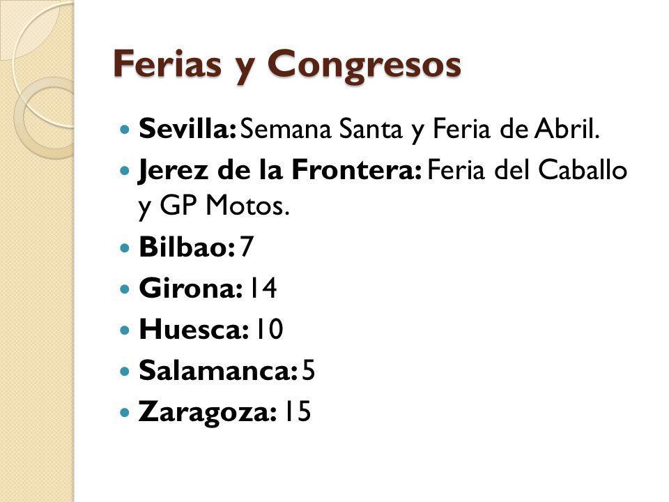 Ferias y Congresos Sevilla: Semana Santa y Feria de Abril. Jerez de la Frontera: Feria del Caballo y GP Motos. Bilbao: 7 Girona: 14 Huesca: 10 Salaman