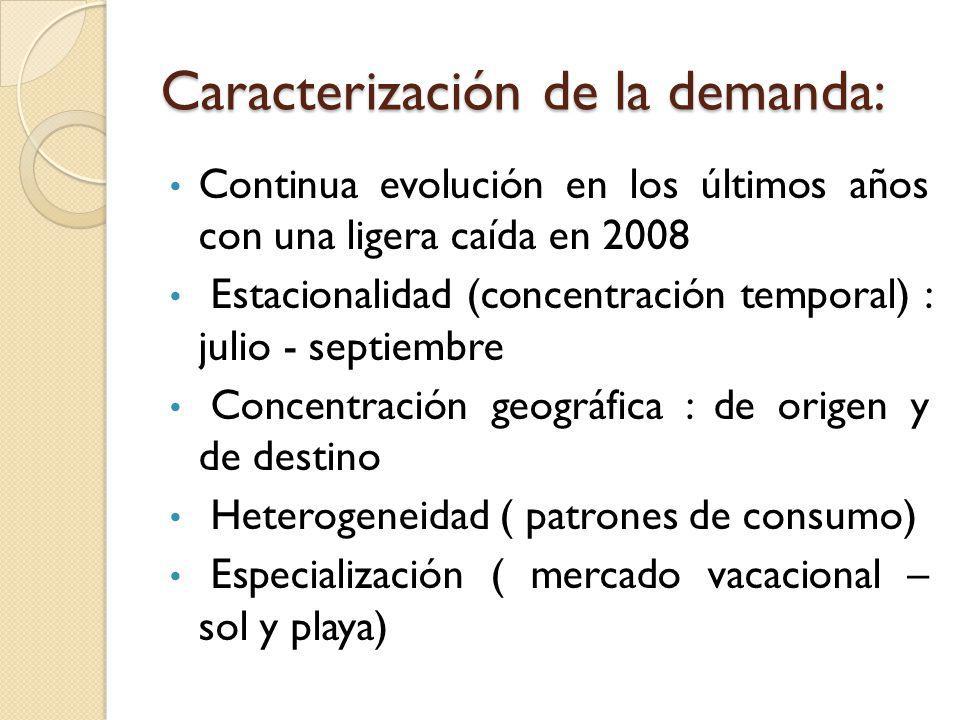 Caracterización de la demanda: Continua evolución en los últimos años con una ligera caída en 2008 Estacionalidad (concentración temporal) : julio - s