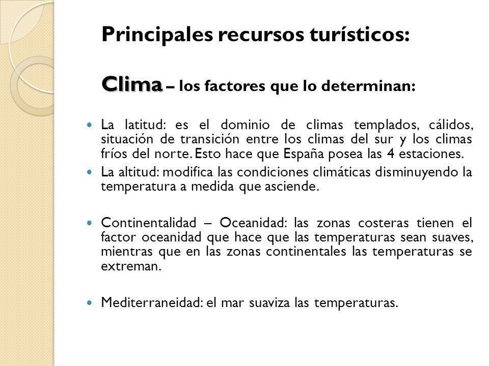 Principales recursos turísticos: Clima Clima – los factores que lo determinan: La latitud: es el dominio de climas templados, cálidos, situación de tr