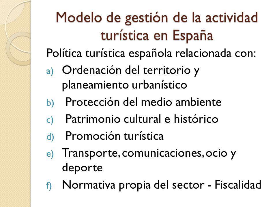Modelo de gestión de la actividad turística en España Política turística española relacionada con: a) Ordenación del territorio y planeamiento urbanís