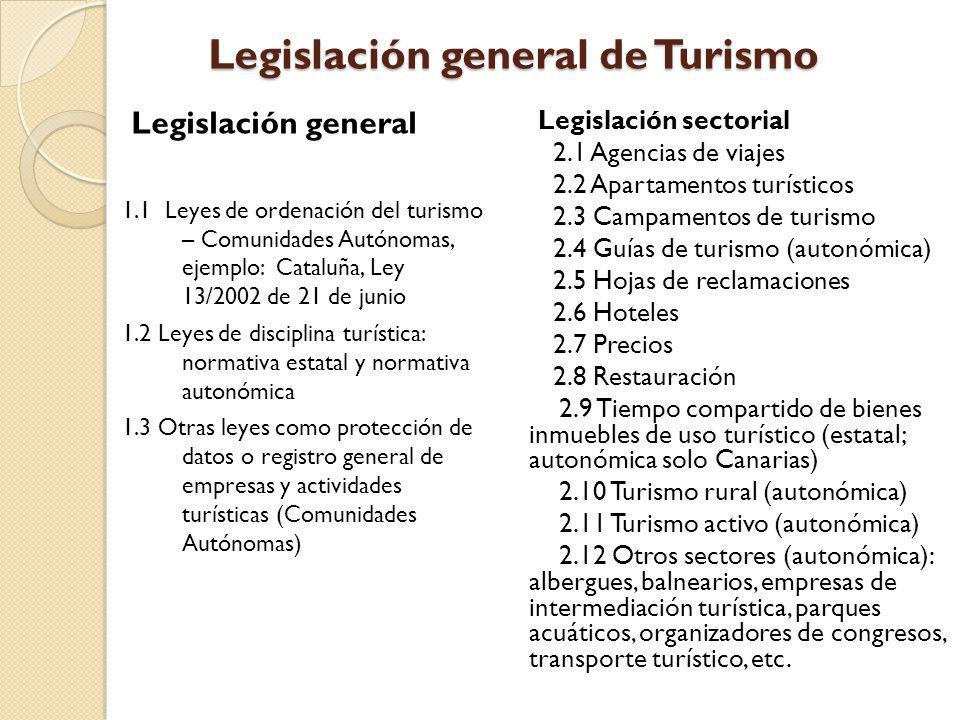 Legislación general de Turismo Legislación general 1.1 Leyes de ordenación del turismo – Comunidades Autónomas, ejemplo: Cataluña, Ley 13/2002 de 21 d