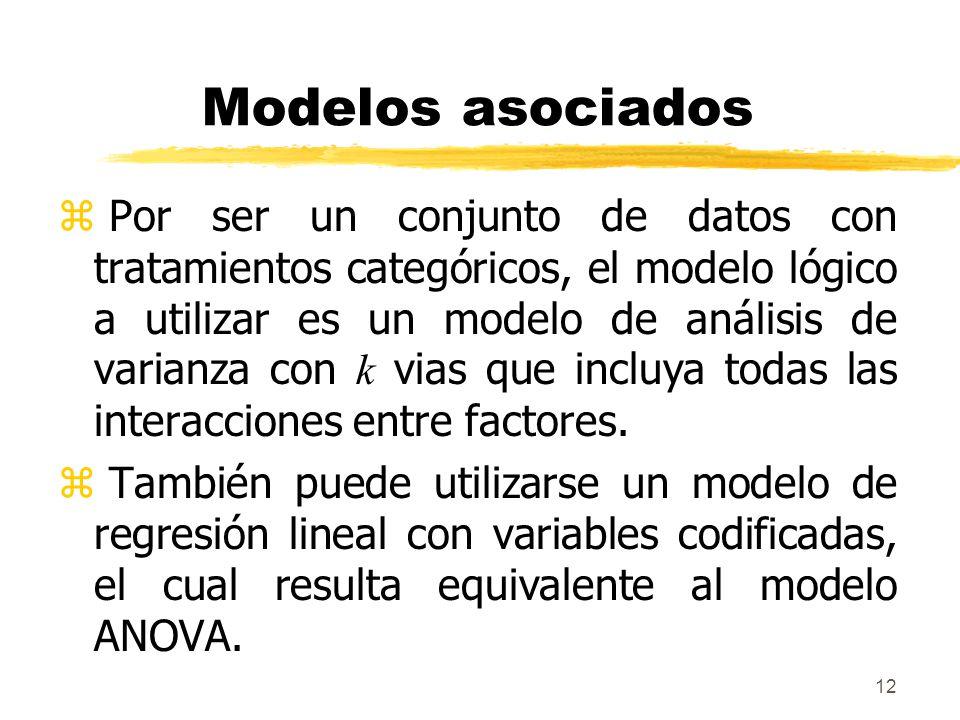 12 Modelos asociados Por ser un conjunto de datos con tratamientos categóricos, el modelo lógico a utilizar es un modelo de análisis de varianza con k