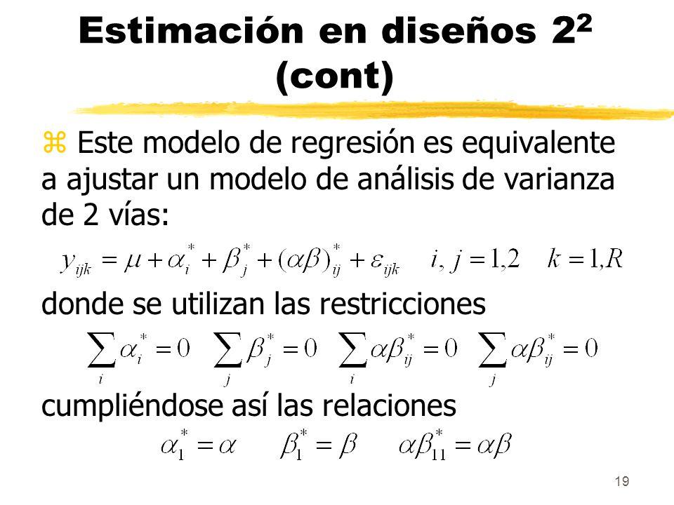 19 Estimación en diseños 2 2 (cont) z Este modelo de regresión es equivalente a ajustar un modelo de análisis de varianza de 2 vías: donde se utilizan