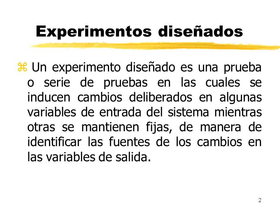 2 Experimentos diseñados z Un experimento diseñado es una prueba o serie de pruebas en las cuales se inducen cambios deliberados en algunas variables