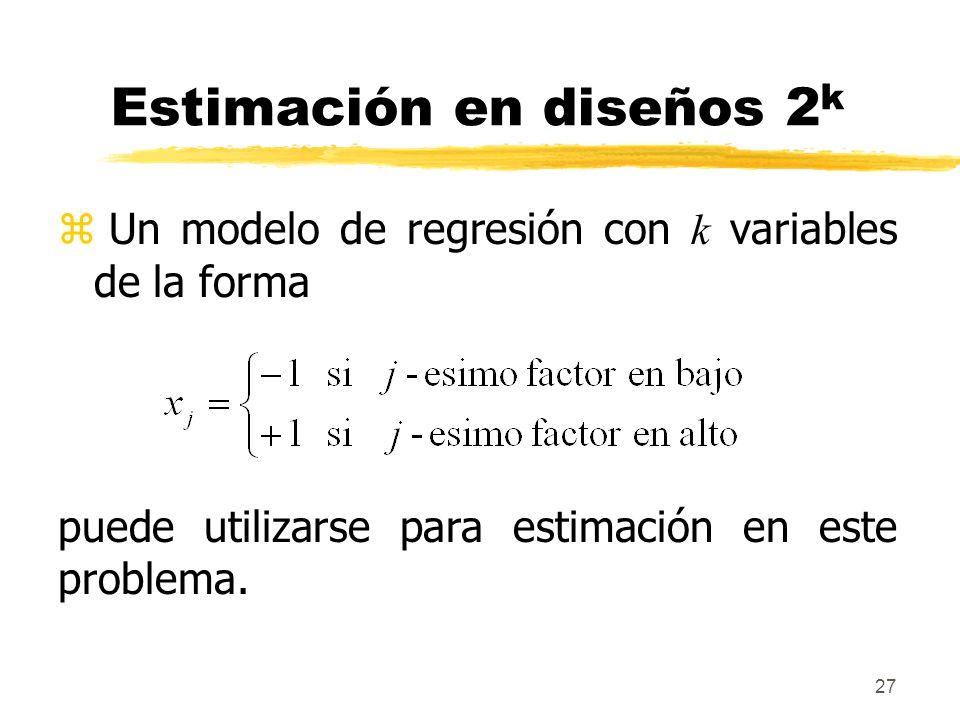 27 Estimación en diseños 2 k Un modelo de regresión con k variables de la forma puede utilizarse para estimación en este problema.