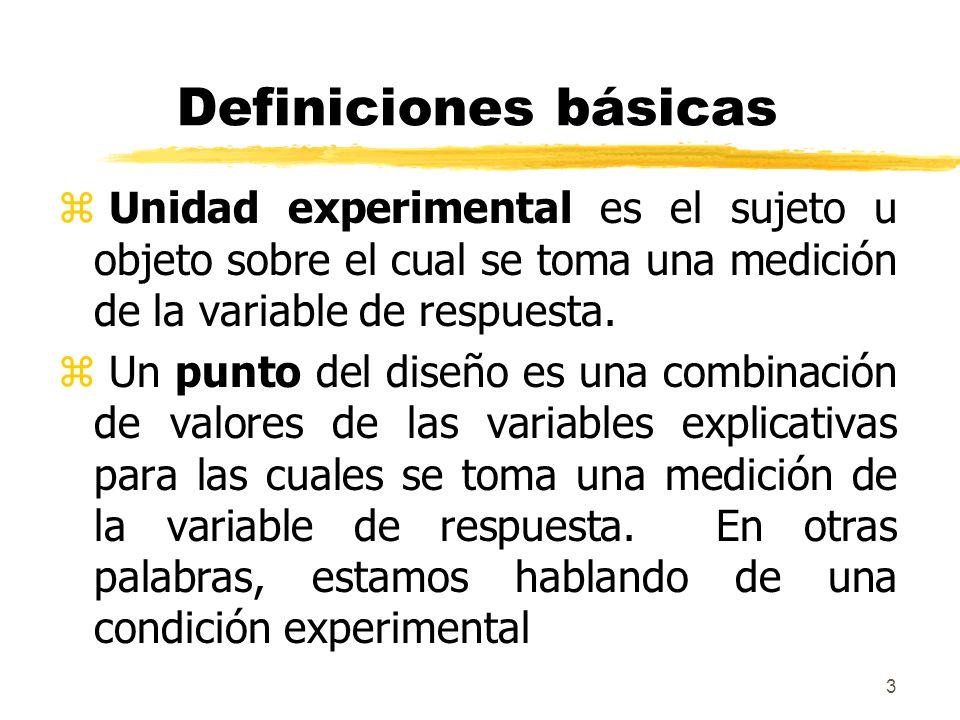 3 Definiciones básicas z Unidad experimental es el sujeto u objeto sobre el cual se toma una medición de la variable de respuesta. z Un punto del dise