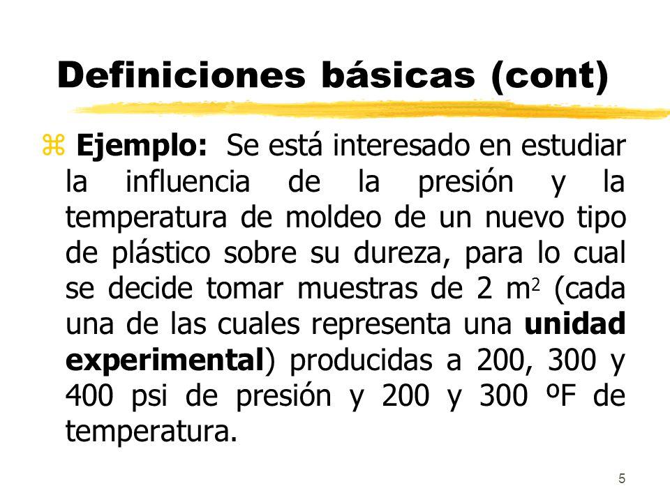 6 Definiciones básicas (cont) z En este caso la temperatura y la presión representan los tratamientos del experimento y los mismos son factores El diseño comprende seis puntos: (200psi,200ºF), (300psi,200ºF), (400psi,200ºF), (200psi,300ºF), (300psi,300ºF) y (400psi,300ºF).