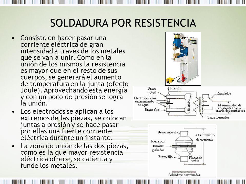 SOLDADURA POR RESISTENCIA Consiste en hacer pasar una corriente eléctrica de gran intensidad a través de los metales que se van a unir. Como en la uni