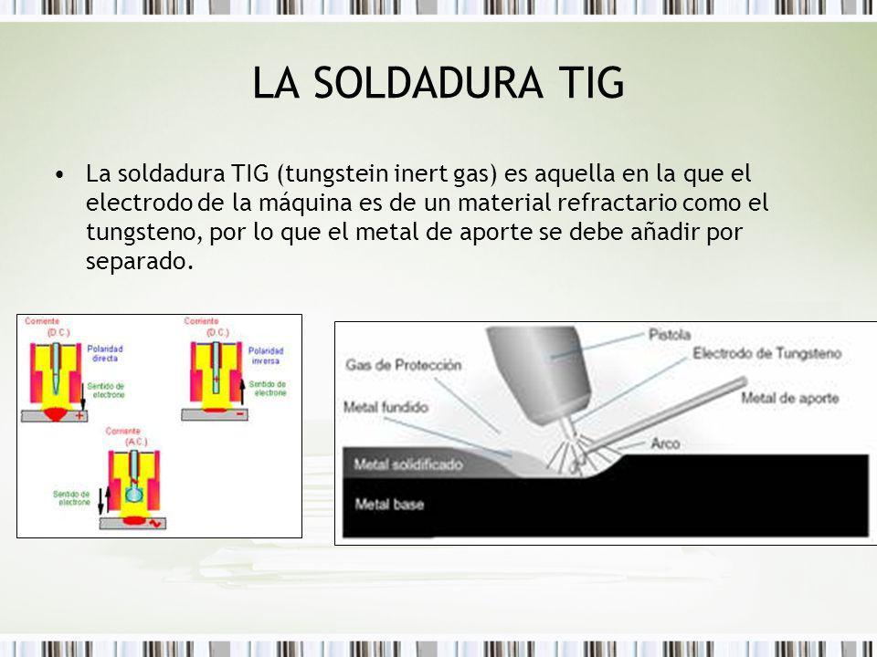 LA SOLDADURA TIG La soldadura TIG (tungstein inert gas) es aquella en la que el electrodo de la máquina es de un material refractario como el tungsten