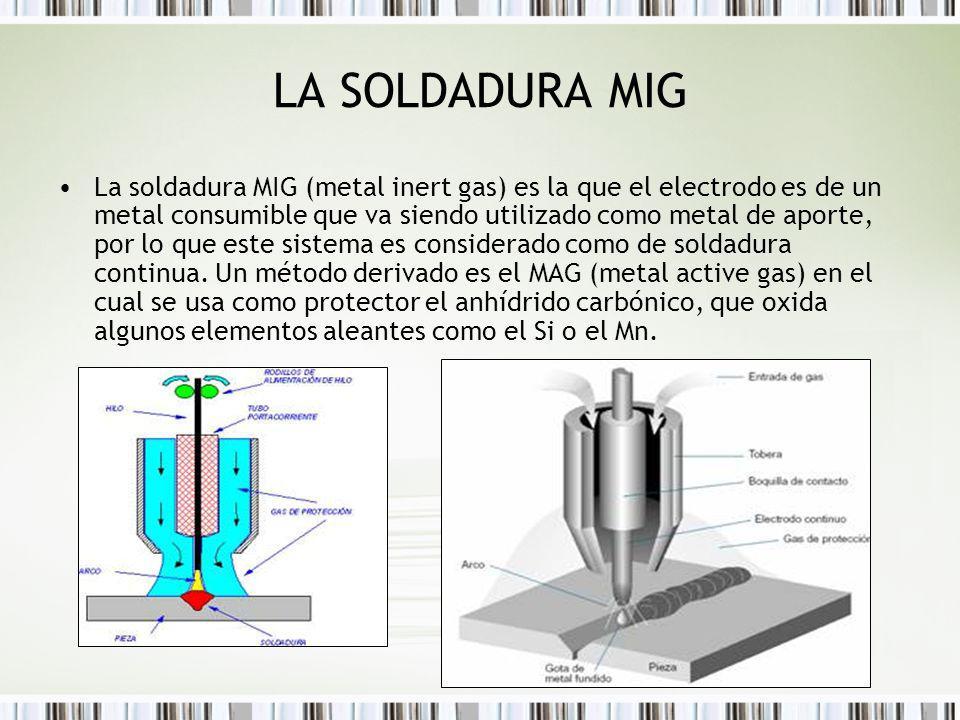 LA SOLDADURA MIG La soldadura MIG (metal inert gas) es la que el electrodo es de un metal consumible que va siendo utilizado como metal de aporte, por