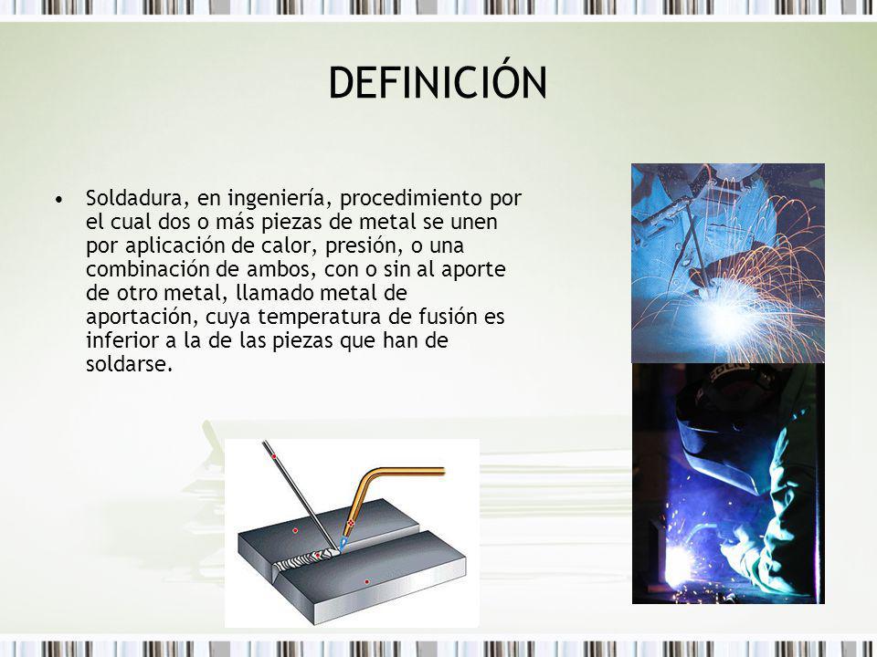 DEFINICIÓN Soldadura, en ingeniería, procedimiento por el cual dos o más piezas de metal se unen por aplicación de calor, presión, o una combinación d
