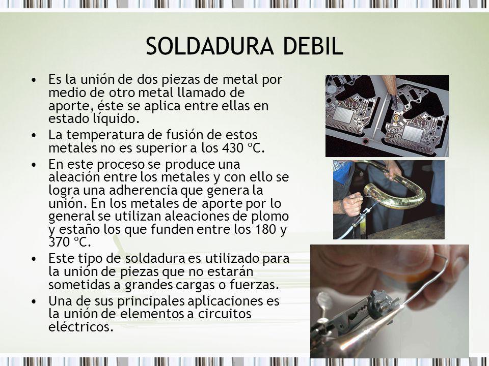 SOLDADURA DEBIL Es la unión de dos piezas de metal por medio de otro metal llamado de aporte, éste se aplica entre ellas en estado líquido. La tempera