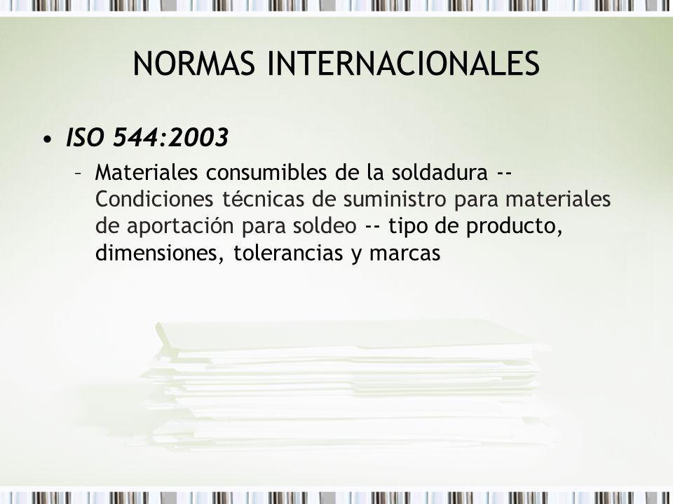 ISO 544:2003 –Materiales consumibles de la soldadura -- Condiciones t é cnicas de suministro para materiales de aportaci ó n para soldeo -- tipo de pr