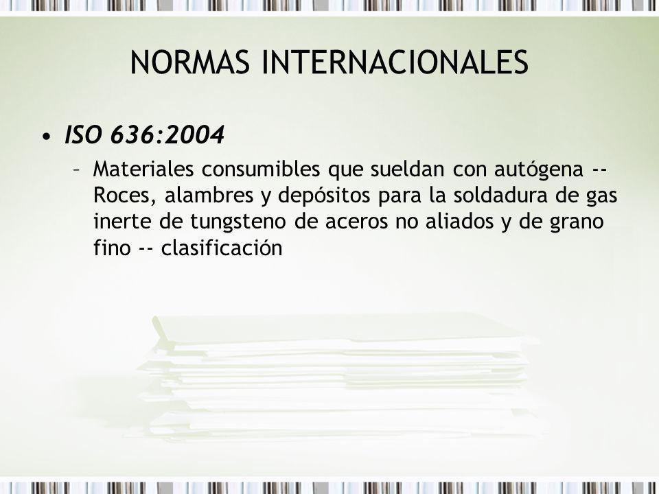 NORMAS INTERNACIONALES ISO 636:2004 –Materiales consumibles que sueldan con aut ó gena -- Roces, alambres y dep ó sitos para la soldadura de gas inert
