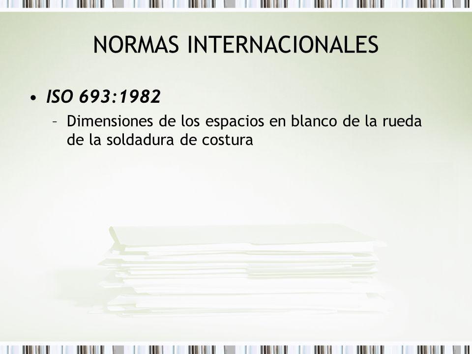 NORMAS INTERNACIONALES ISO 693:1982 –Dimensiones de los espacios en blanco de la rueda de la soldadura de costura