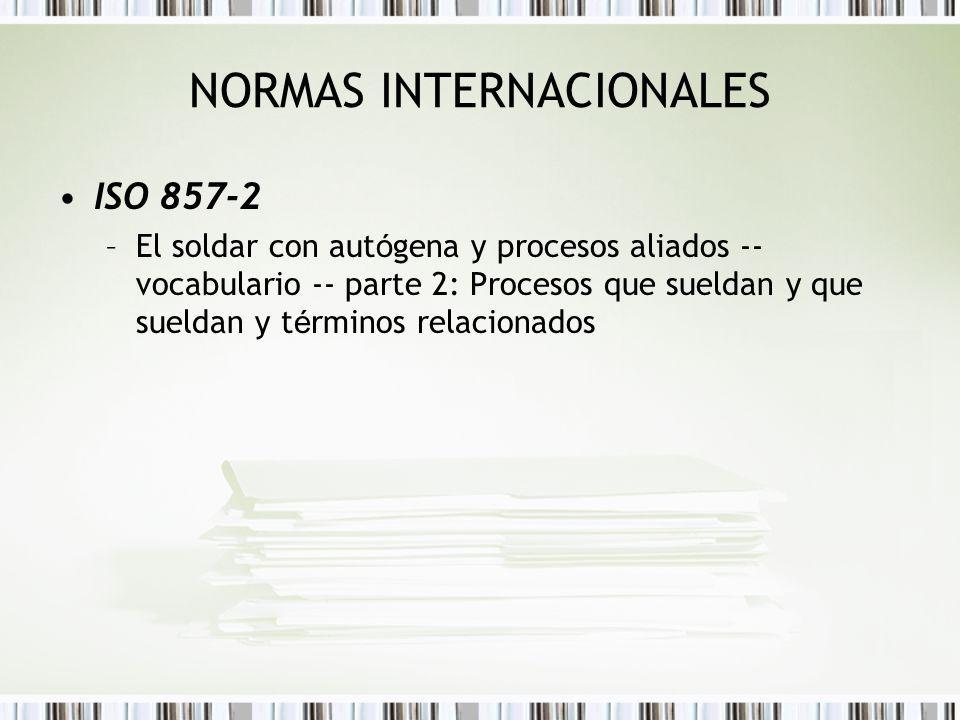 NORMAS INTERNACIONALES ISO 857-2 –El soldar con aut ó gena y procesos aliados -- vocabulario -- parte 2: Procesos que sueldan y que sueldan y t é rmin