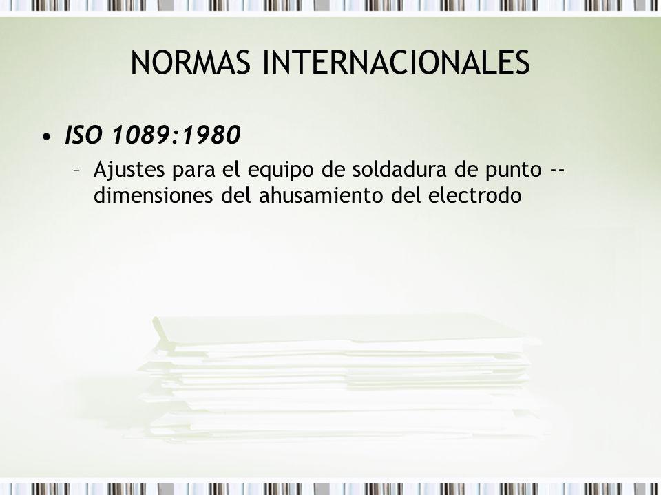 NORMAS INTERNACIONALES ISO 1089:1980 –Ajustes para el equipo de soldadura de punto -- dimensiones del ahusamiento del electrodo
