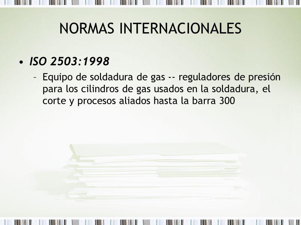 NORMAS INTERNACIONALES ISO 2503:1998 –Equipo de soldadura de gas -- reguladores de presi ó n para los cilindros de gas usados en la soldadura, el cort