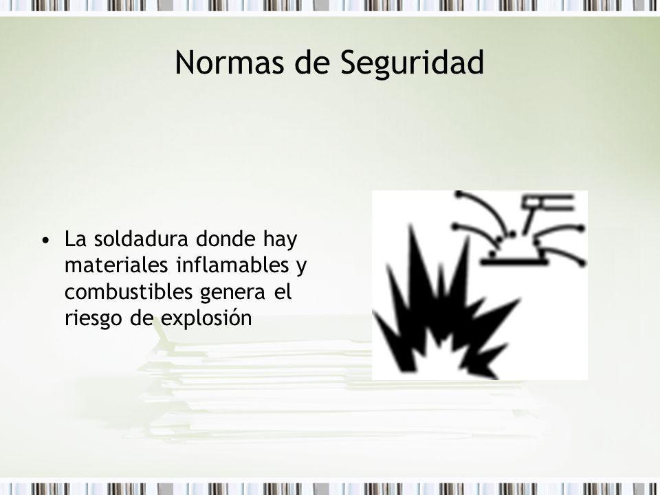 La soldadura donde hay materiales inflamables y combustibles genera el riesgo de explosión