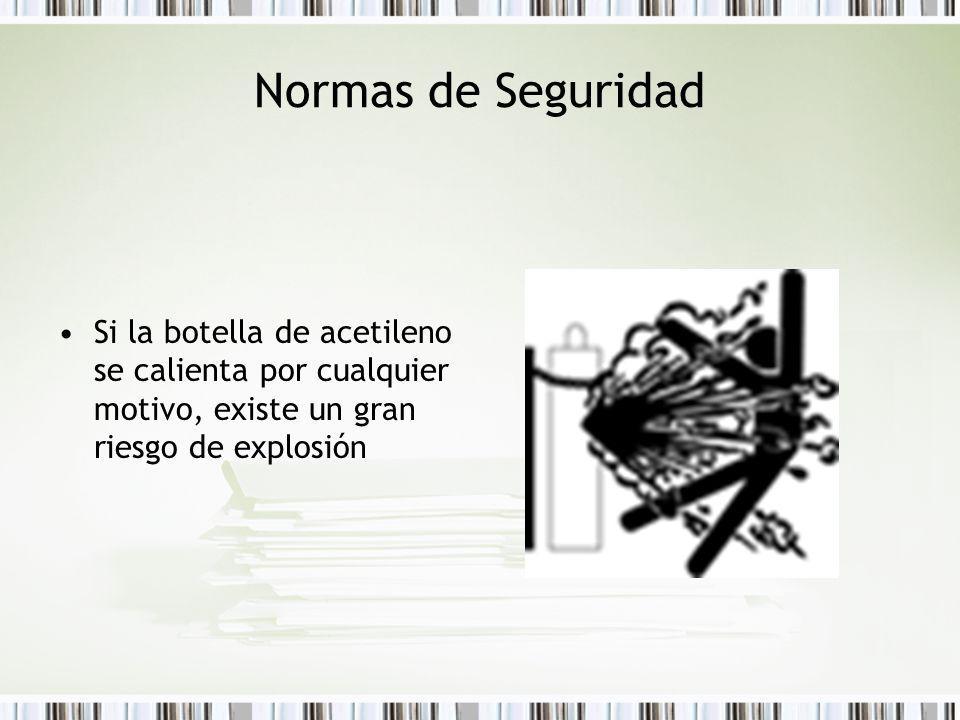 Normas de Seguridad Si la botella de acetileno se calienta por cualquier motivo, existe un gran riesgo de explosión
