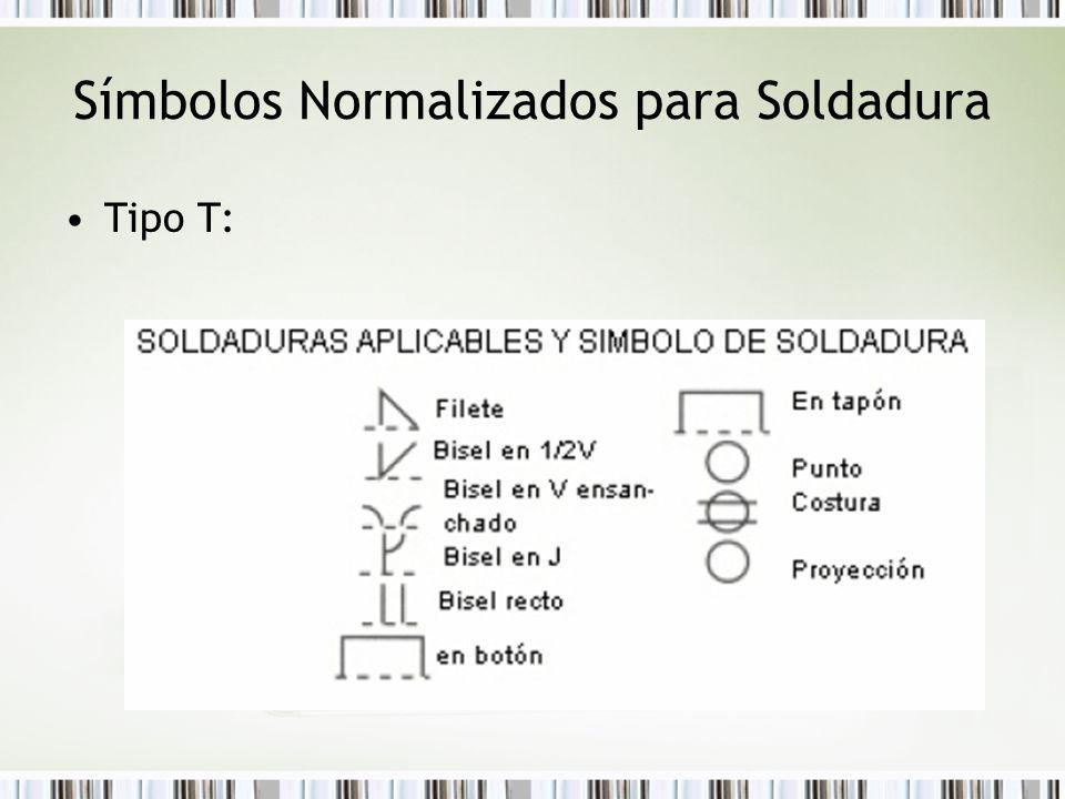 Símbolos Normalizados para Soldadura Tipo T: