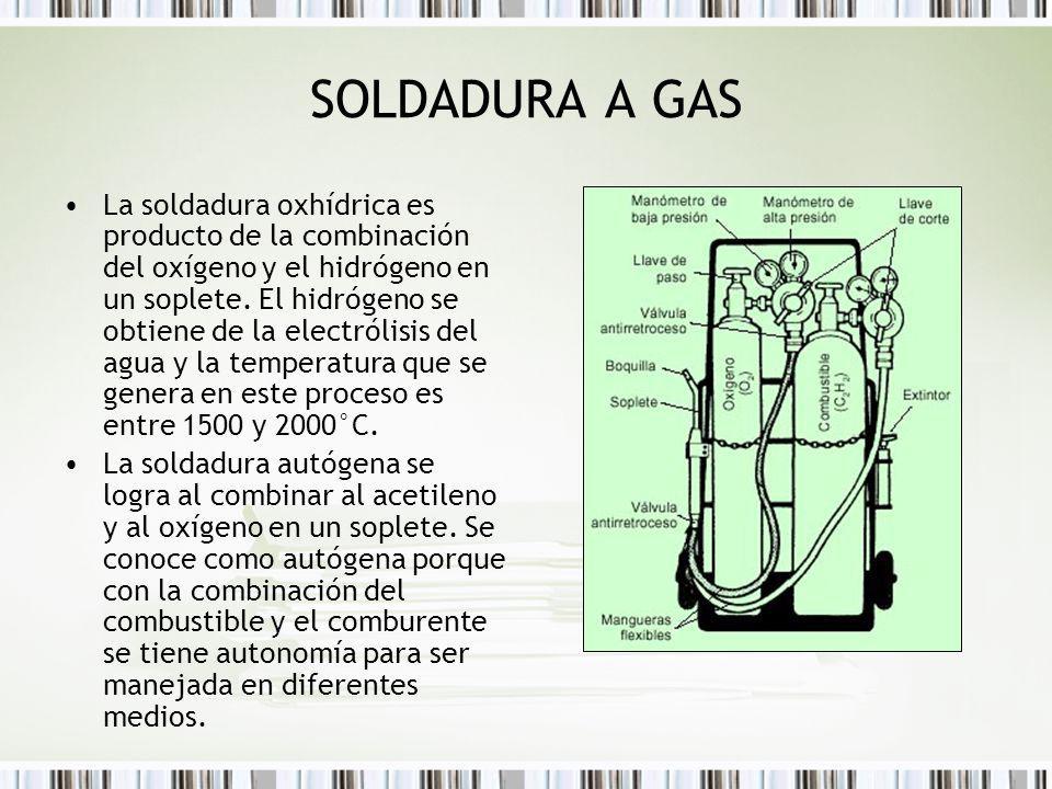 SOLDADURA A GAS La soldadura oxhídrica es producto de la combinación del oxígeno y el hidrógeno en un soplete. El hidrógeno se obtiene de la electróli