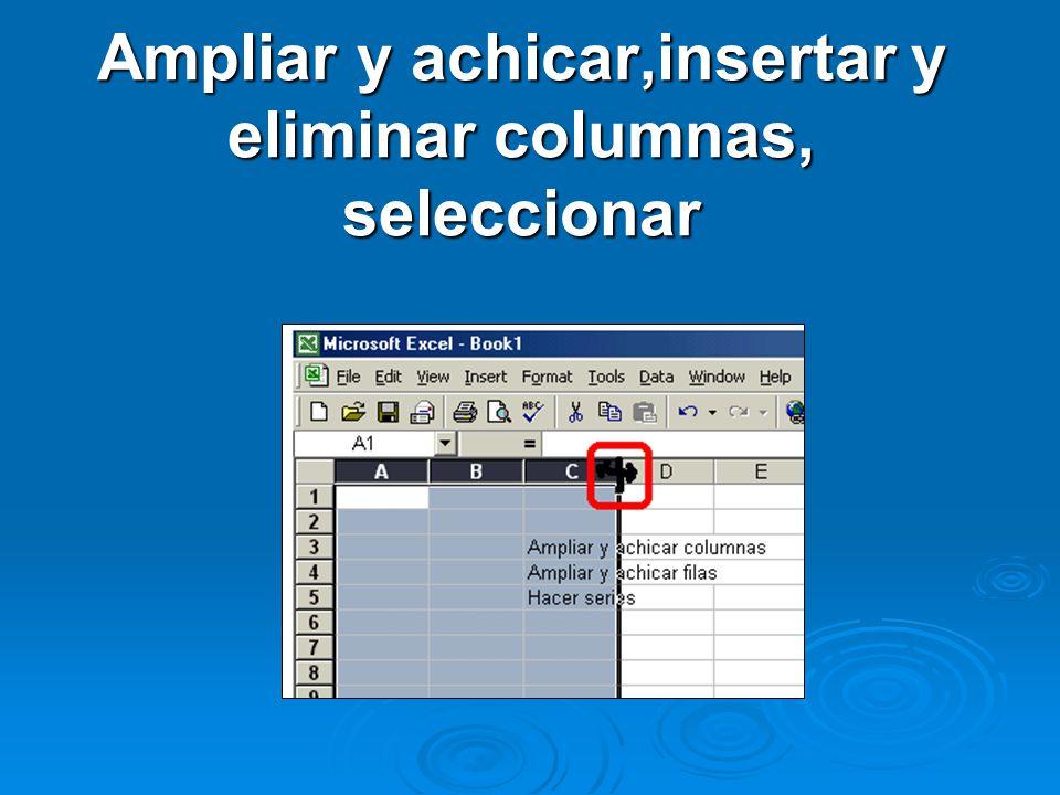 Ampliar y achicar,insertar y eliminar columnas, seleccionar
