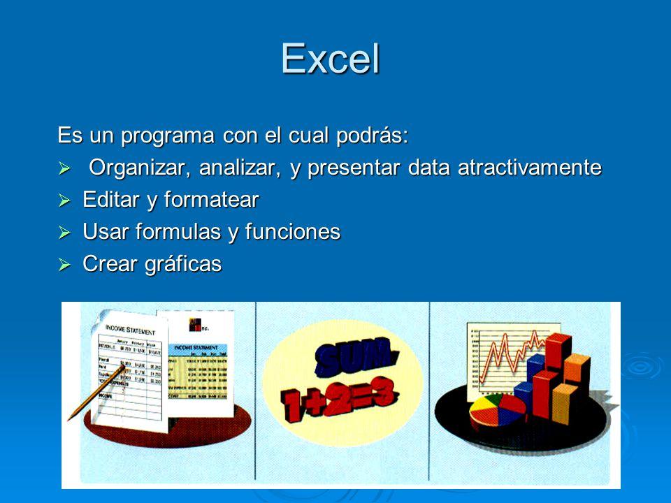 Excel Es un programa con el cual podrás: Organizar, analizar, y presentar data atractivamente Organizar, analizar, y presentar data atractivamente Editar y formatear Editar y formatear Usar formulas y funciones Usar formulas y funciones Crear gráficas Crear gráficas