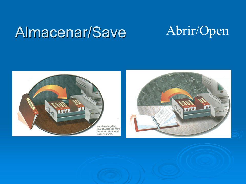 Almacenar/Save Abrir/Open
