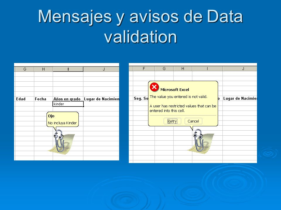 Mensajes y avisos de Data validation