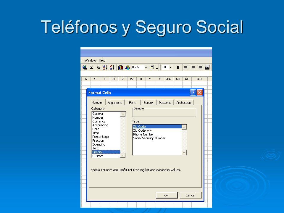 Teléfonos y Seguro Social