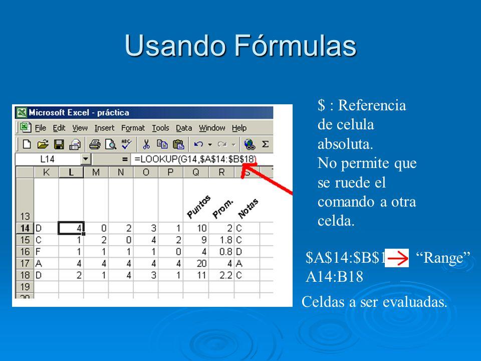 Usando Fórmulas $ : Referencia de celula absoluta. No permite que se ruede el comando a otra celda. $A$14:$B$18 A14:B18 Celdas a ser evaluadas. Range