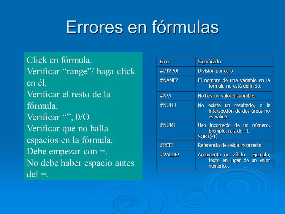 Errores en fórmulas Click en fórmula. Verificar range/ haga click en él. Verificar el resto de la fórmula. Verificar, 0/O Verificar que no halla espac
