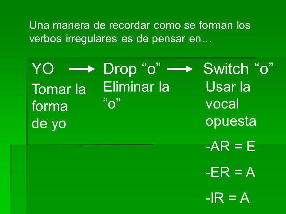Una manera de recordar como se forman los verbos irregulares es de pensar en… YODrop oSwitch o Tomar la forma de yo Eliminar la o Usar la vocal opuest